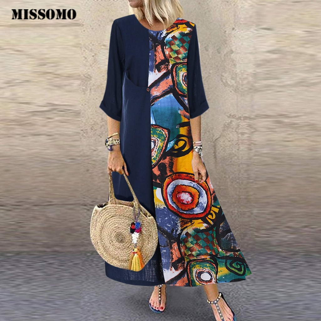 MISSOMO 5XL Dress Women Casual Maxi Dress Vintage Print Patchwok Long Sleeve  Summer Dress Plus Size Long Dresses Vestido 731