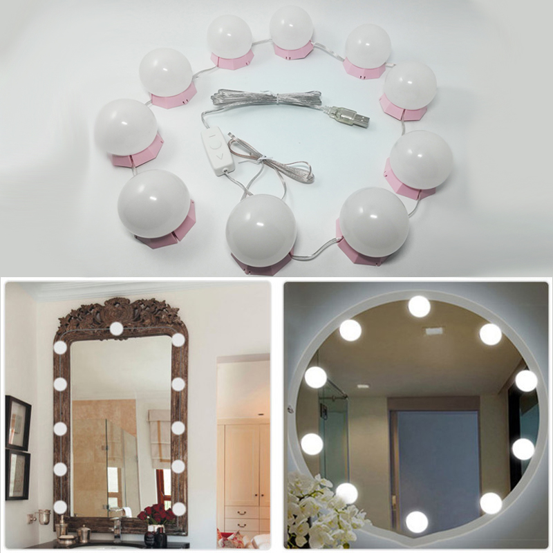 Makeup Mirror Vanity LED Light Bulbs Kit USB Charging Port Cosmetic Lighted Bulb Profession Makeup Mirrors Brightness Lights D43-in Makeup Mirrors from Beauty & Health