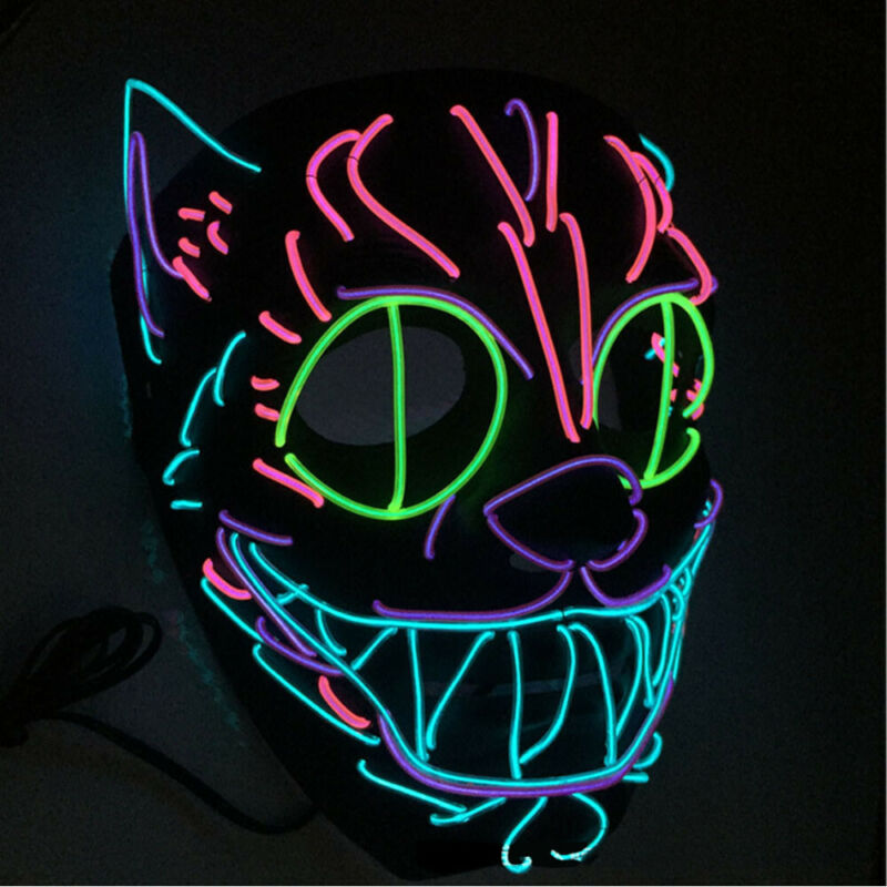 LED Light Mask Scary Smiling Face Rave Purge Festival Cosplay Party Masks Horse Rider Equipment