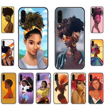 Black African Woman Girl Phone case For Samsung Galaxy A 3 5 8 9 10 20 30 40 50 70 E S Plus 2016 2017 2018 2019 black soft funda image