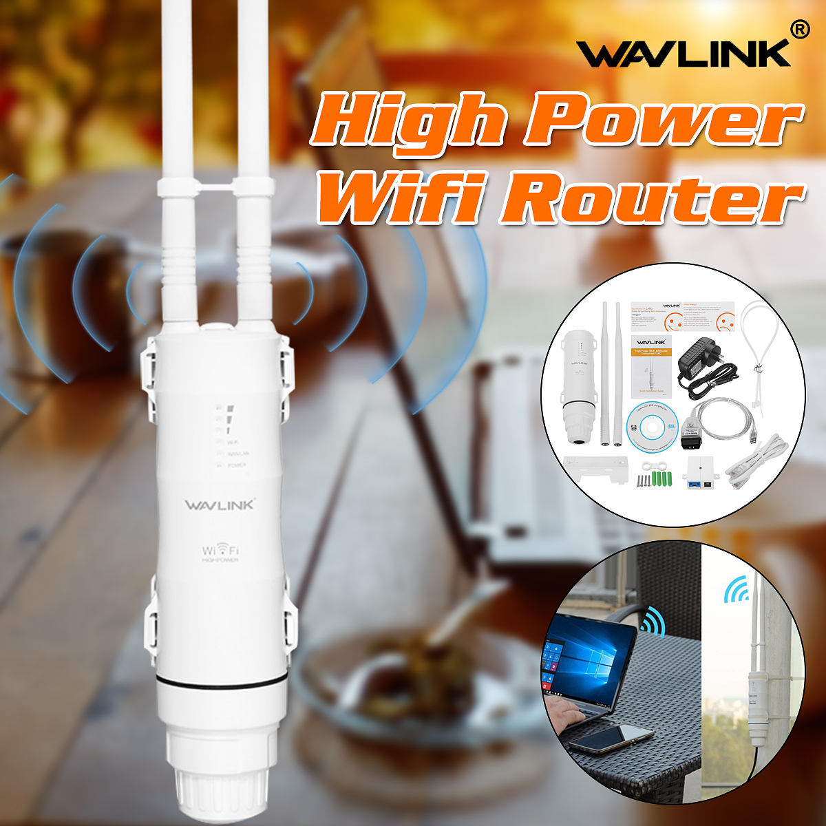 Wavlink AC600 27dBm <font><b>Wifi</b></font> Extender High Power Outdoor <font><b>Wifi</b></font> Repeater 2.4G/150Mbps +5GHz /433Mbps Wireless <font><b>Wifi</b></font> Router with WISP image