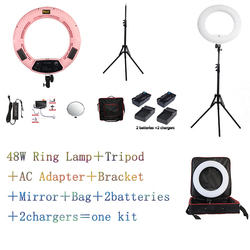 Yidoblo Pink FS-480II Bio-color adjustable beauty salon make up 48W Ring Light LED Lamp+ 2M stand +Bag + batteries Kit