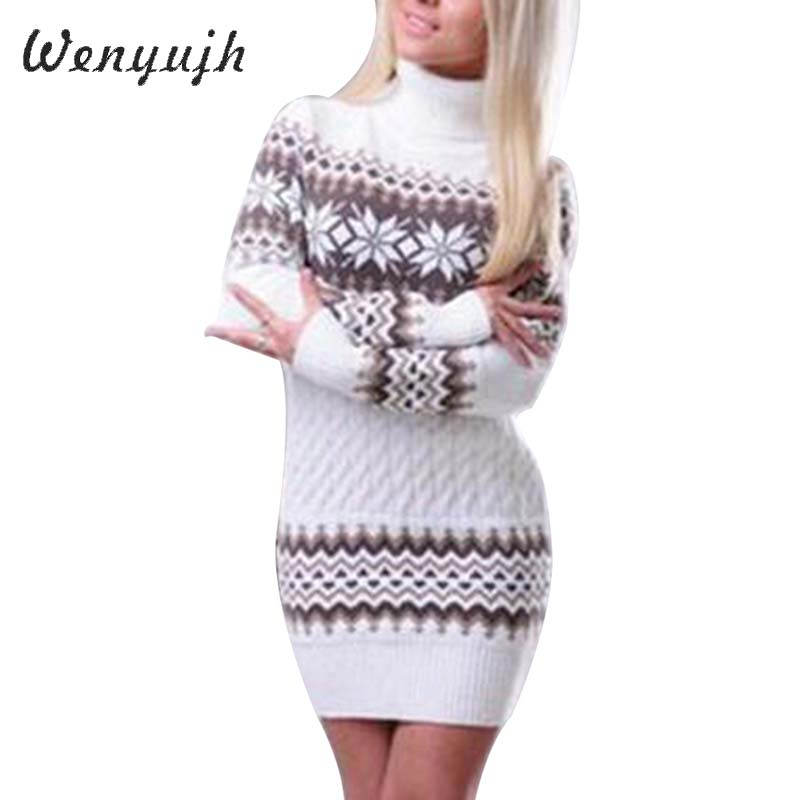 WENYUJH 2020 Autumn Winter Sweater Women Long Sleeve Sweater Dress Female Long Patchwork  Knitwear Turtleneck Pullover