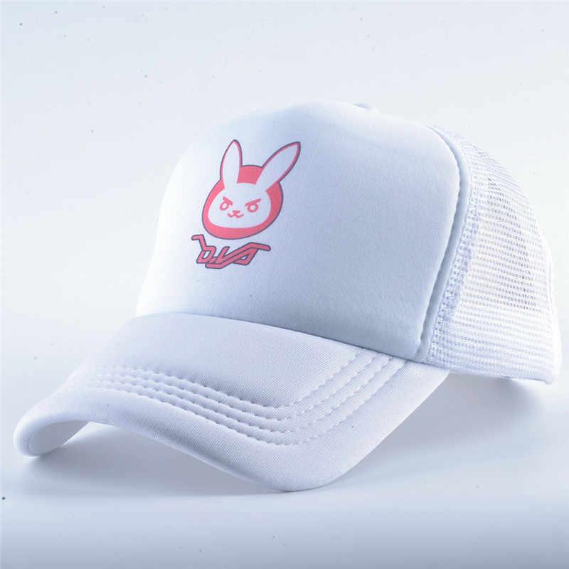 2019 هالوين زي Overwatch D. VA أرنب الأذن القطن التطريز snapback DVA قبعة بيسبول النساء الرجال الكرتون هزلية Dva كاب قبعة