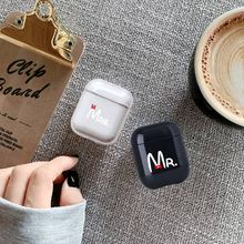 Luxury Words Couple Earphone Case For Apple airpods Mr Mrs Bluetooth Airpods  Headphone Hard Accessories