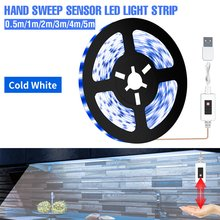 Bande lumineuse LED à capteur de balayage manuel, USB, étanche, sous-meuble, PIR 5V, Flexible, ruban de lampe, Fita 0.5 1 2 3 4 5 M