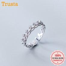 Trusta 100% maciza 925 plata esterlina Real Alta Calidad corona CZ anillo de apertura 5 5 5 6 6 7 para mujer esposa cumpleaños DS1203