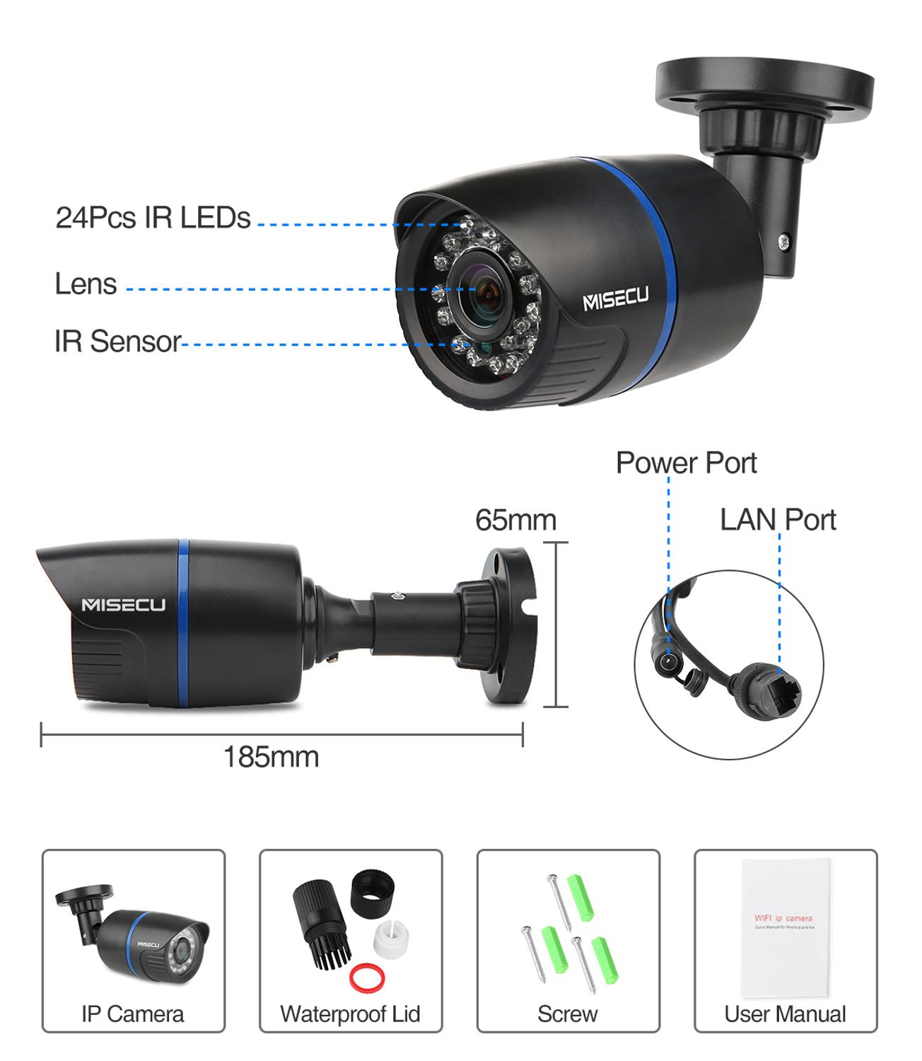 Cameră IP MISECU 2.8mm Wide IP 1080P 720P Outdoor ONVIF P2P - Securitate și protecție - Fotografie 6