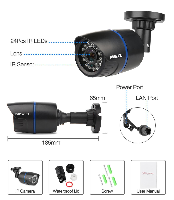 MISECU H.265 IP Camera 1080P Outdoor Waterproof ONVIF P2P Motion Detection RTSP Email Alert XMEye 48V POE Surveillance Security