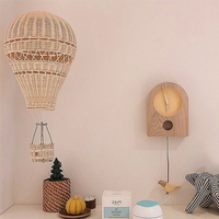 Handmade Kids Room Decoration Nordic Style Children Bedroom Kindergarten Rattan Hot Air Balloon Craft Wall Hanging Decor