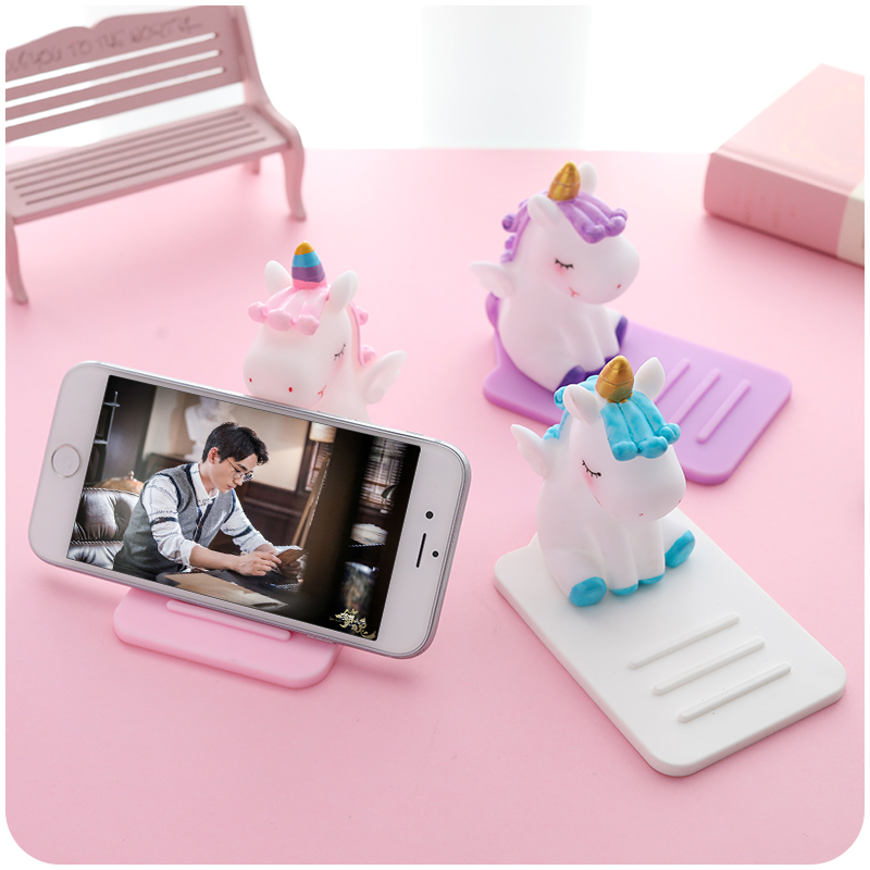 Universal Phone Holder Cute Cartoon Unicorn Mobile Phone Bracket Stand Tablets Desktop Holder For For IPhone IPad Samsung Huawei