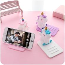 Universal Phone Holder Cute Cartoon Unicorn Mobile Phone Bracket Stand Tablets Desktop Holder for For iPhone iPad Samsung Huawei цена и фото