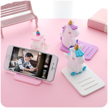 Universal Phone Holder Cute Cartoon Unicorn Mobile Phone Bracket Stand Tablets Desktop Holder for For iPhone iPad Samsung Huawei(China)
