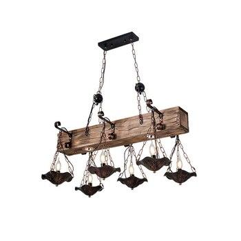 Candelabro de vela creativo lámpara colgante de madera industrial Retro restaurante antiguo cafetería Bar lámpara colgante americana