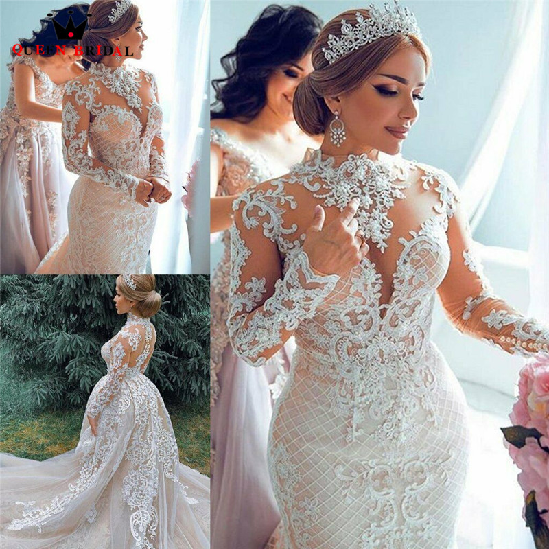 2020 New Fashion Wedding Dresses Mermaid Long Sleeve High-Neck Tulle Lace Crystal Sexy Luxury Wedding Gowns Customize EY05