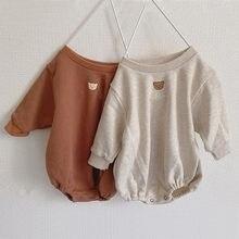 2020 outono bebê recém-nascido meninos meninas roupas do bebê urso impressão bodysuit algodão manga longa macacão bonito adorável roupas do bebê