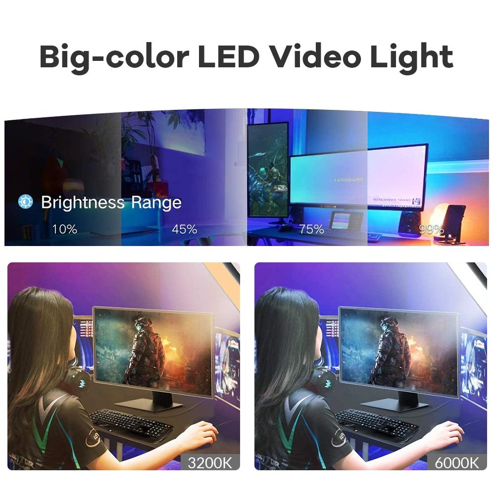 Hc43cc8fdc2e94c158fa69af44df93cd6m Dimmable LED Video Light Panel EU Plug 2700k-5700k Photography Lighting For Live Stream Photo Studio Fill Lamp Three Color