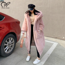 Oversized Faux Fur Coat Women Winter Coat Thick Warm plush coat Ladies Big Hooded Faux Fur Jacket Female Pink Teddy Coat Zipper