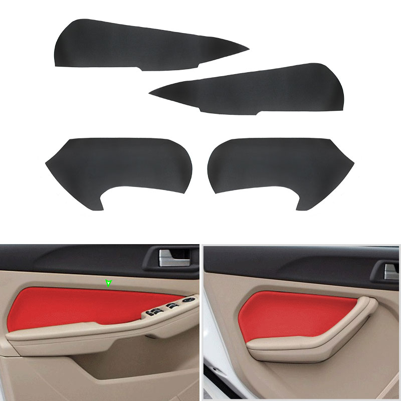 4pcs Microfiber Leather Interior Car Door Handle Armrest Panel Cover Trim For <font><b>Ford</b></font> <font><b>Focus</b></font> 2009 <font><b>2010</b></font> 2011 2012 2013 2014 image