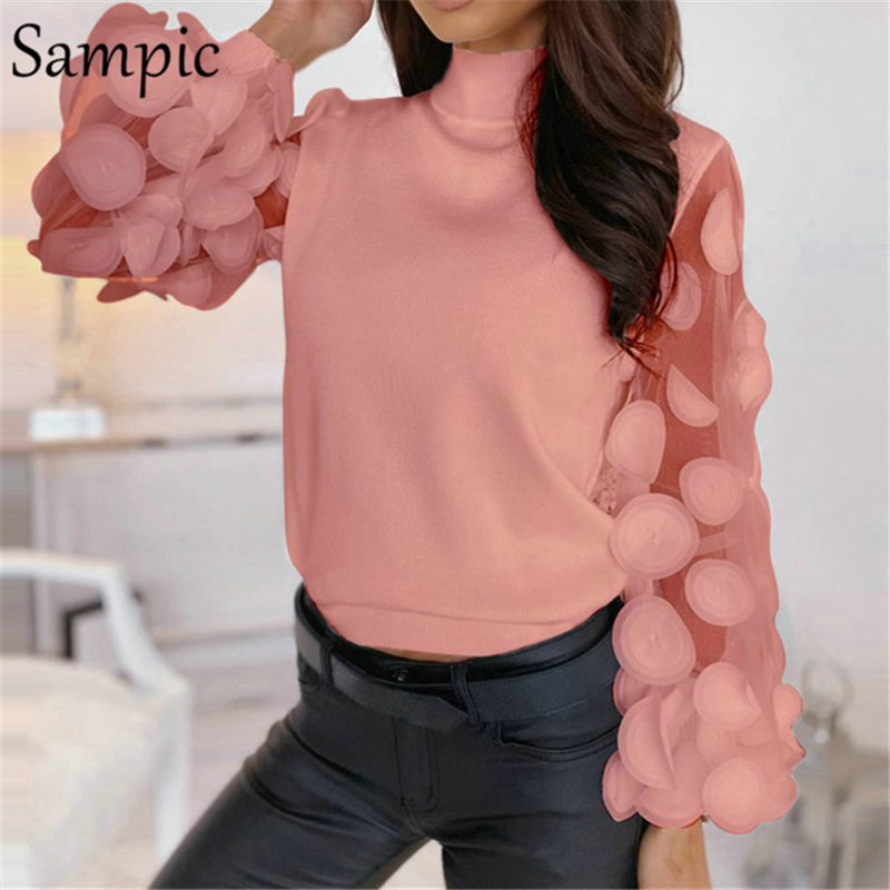 Sampic Knitwear Ruched Mesh Long Puff Sleeve Streetwear Female Pullover Women Winter Top Knitted Turtleneck Thin Pink Sweater