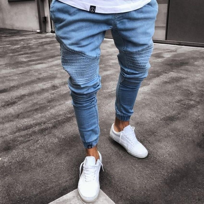 Men's Skinny Plus Size Jeans New Solid Color Business Casual Vintage MAGGIE'S WALKER Spring/summer Horizontal Stripe Splice 2020