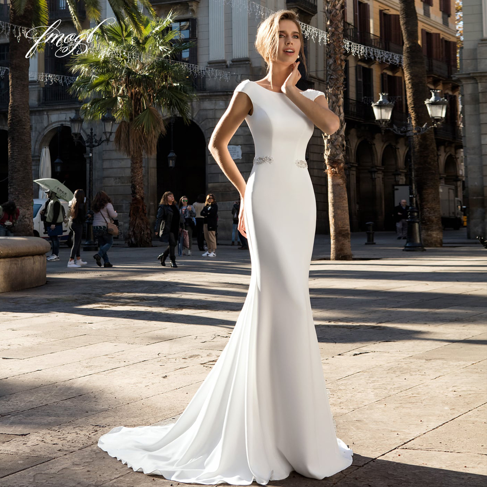 Fmogl Sexy Backless Soft Satin Mermaid Wedding Dresses 2020 Luxury Beaded Pearls Sashes Sweep Train Vintage Trumpet Bridal Gowns
