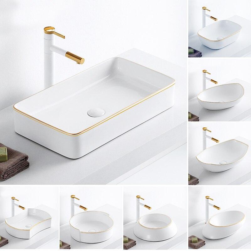 Céramique blanche au-dessus du comptoir bassin avec robinet de traction salle de bain lavabo toilette toilette lavabos lavabo en porcelaine peinte