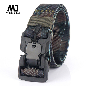 MEDYLA Military Equipment Combat Tactical Belt for Men Us Army Training Nylon Magnetic Buckle Waist Belt Outdoor Hunting Belt