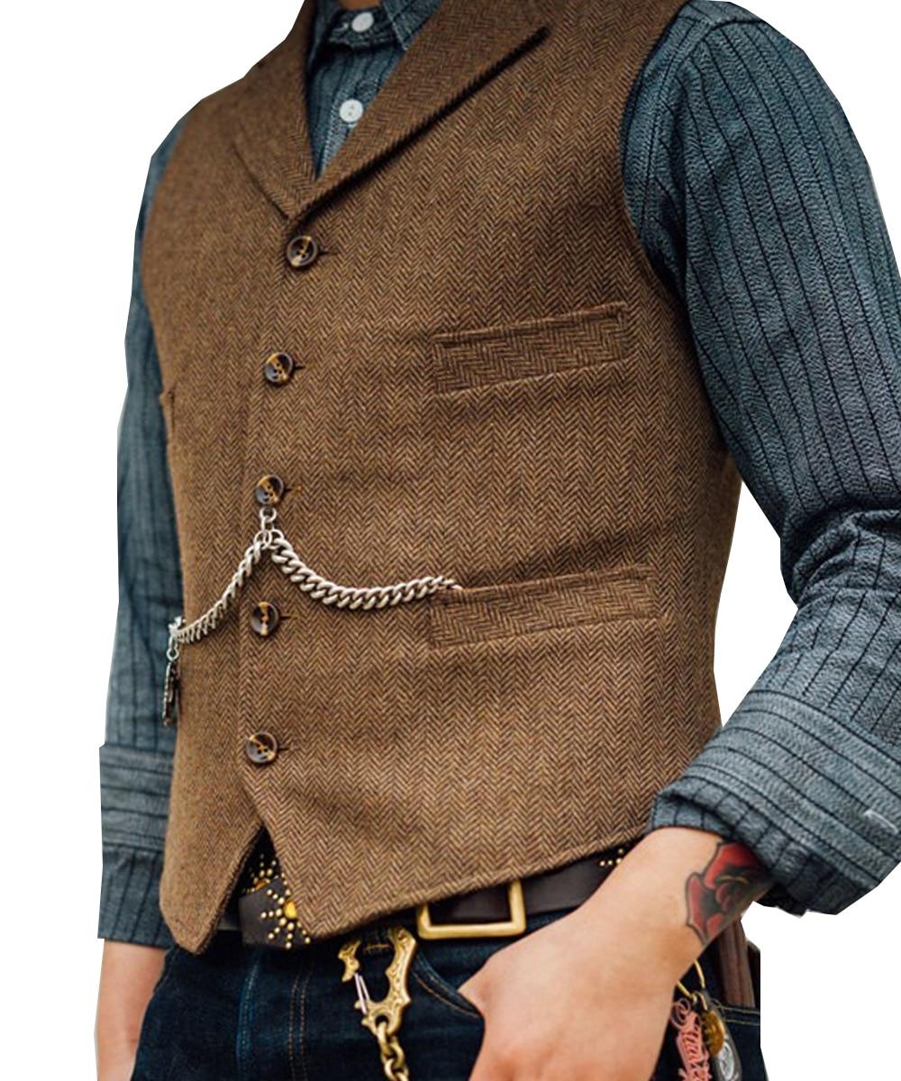 Wool  Groom Vests Wedding Vintage Country Brown Tweed Mens Slim Fit Wedding Party For Men Attire Groomsmen Vest Prom