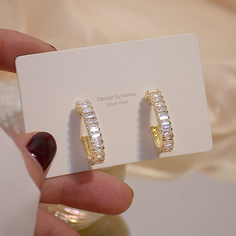 Korean 14k Real Gold Temperament Round CZ Earring for Women One Row AAA Zircon Stud Earring Wedding Engagement Jewelry Brincos