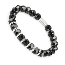 BOFEE Natural Black Onyx Beads Bracelet Steel String Stretch Hand Chain Hematite Energy Fashion Jewelry For Women Men Lovers
