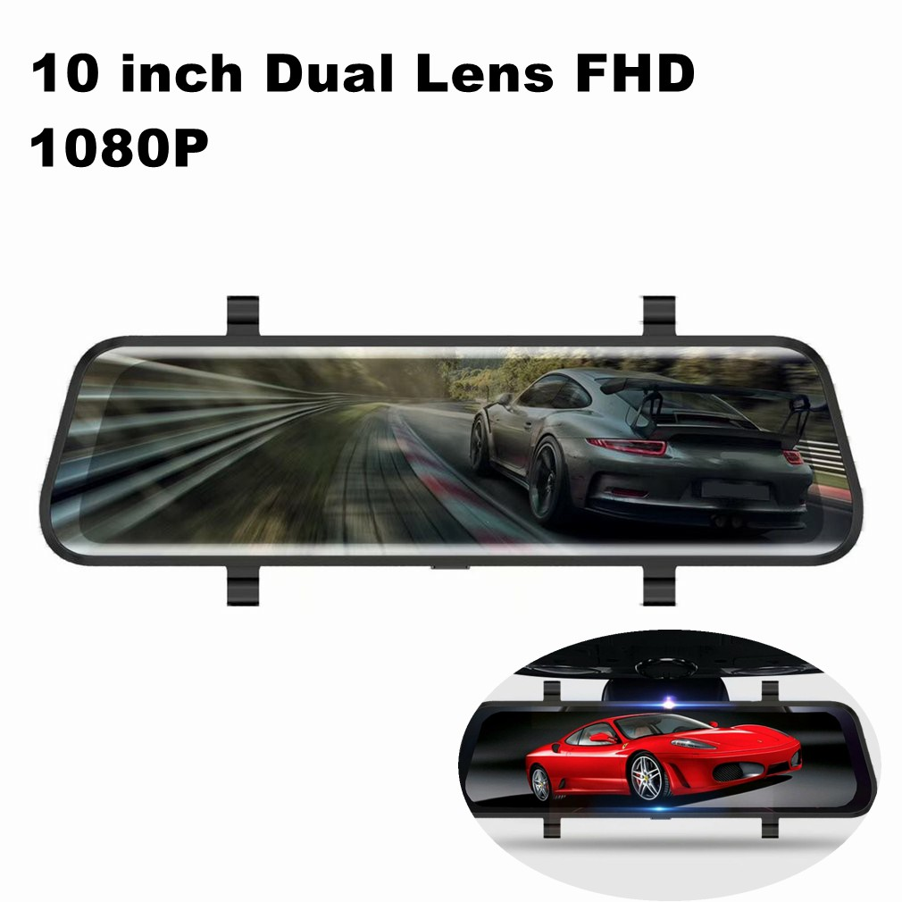 10 inch Car Mirror Video Dash Camera Car Dvr mirror FHD 1080P Dual Lens With Rear View Camera Auto Video Recorder Backup Camera|Surveillance Cameras| |  - title=