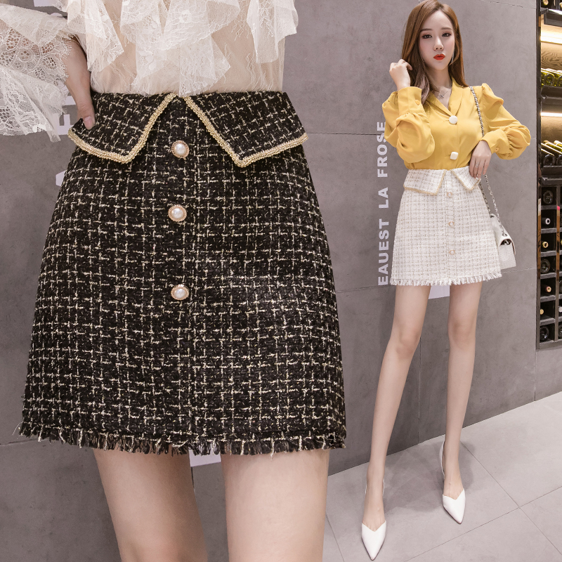 2019 New Women Plaid A-line Buttons Above Knee Vintage Tweed Tassels Skirt Female Short Skirts Bottoms For Girls BH3087