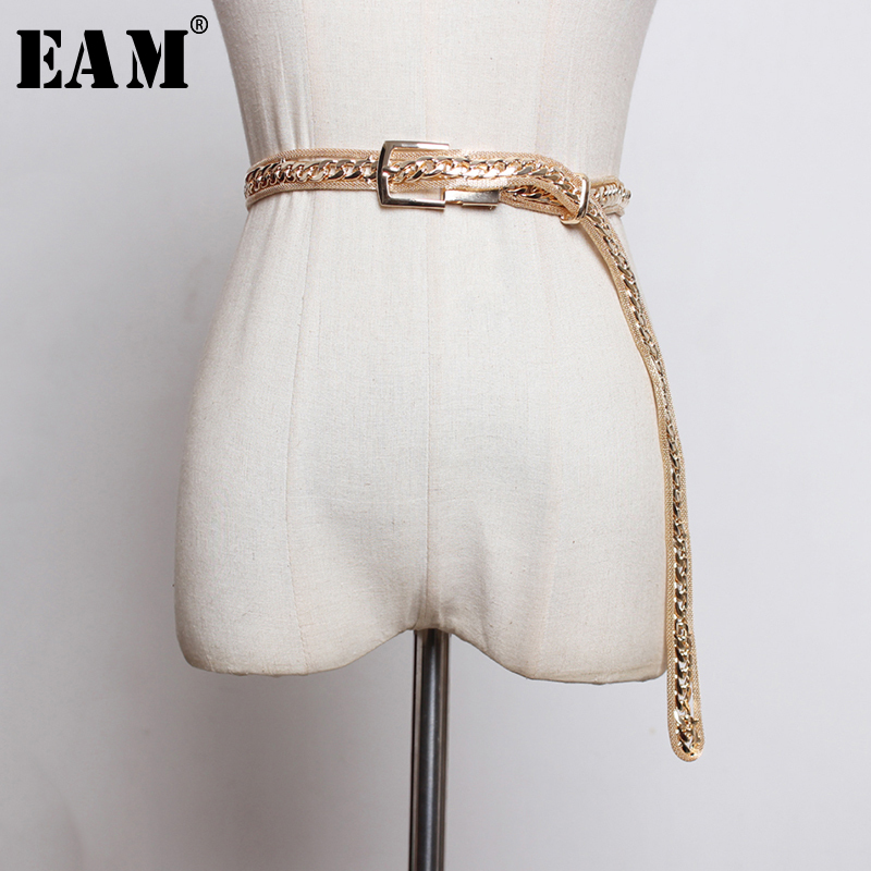 [EAM]  Metal Buckle Split Joint Perspective Long Wide Belt Personality Women New Fashion Tide All-match Spring 2020 1N739