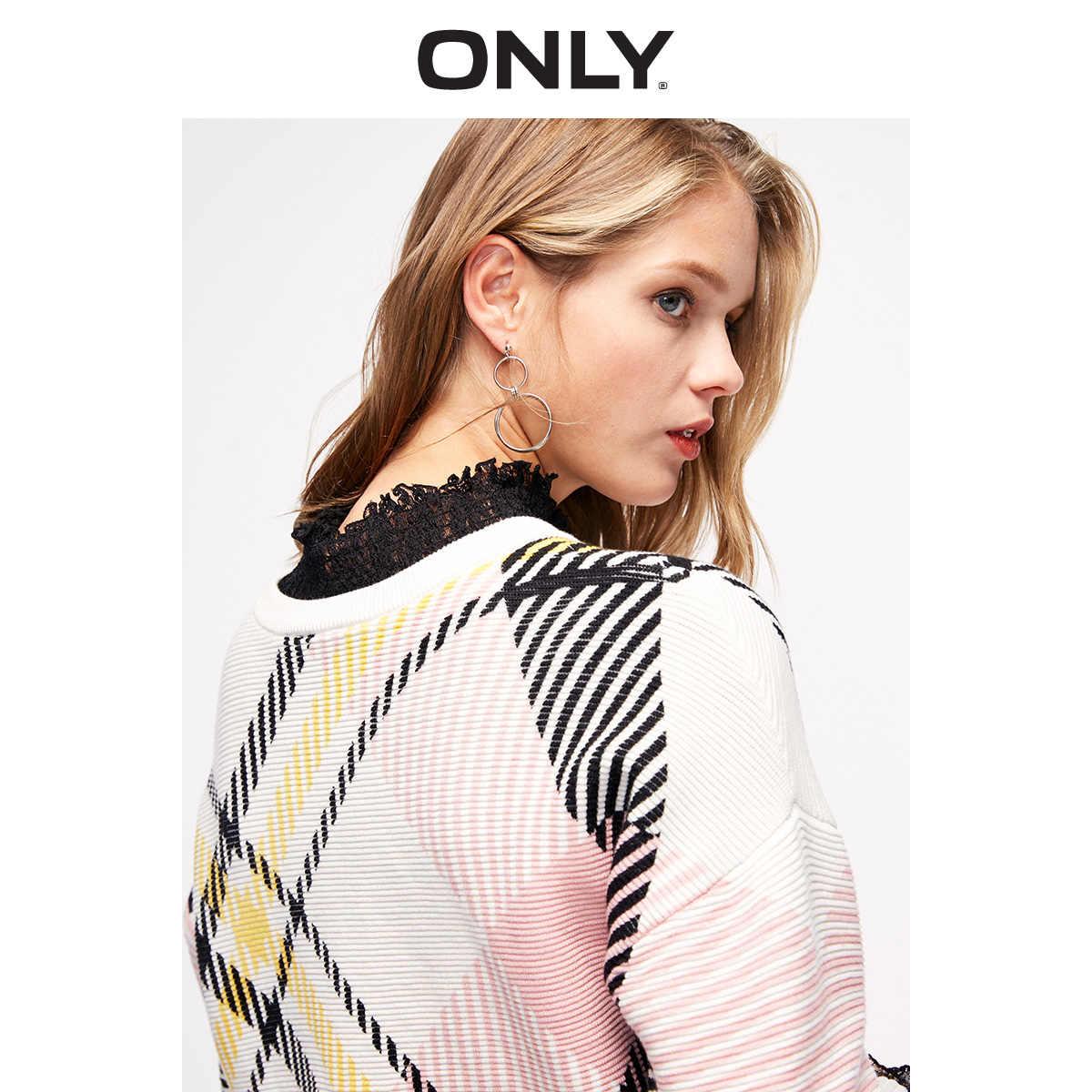ONLY Womens Short Round Neckline 체크 풀오버 스웨터 | 119124525
