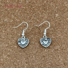 Double sided Heart shaped Charm Earrings silver Fish Ear Hook 30pairs Antique Chandelier DIY Jewelry 12.2x32.5mm A-539e