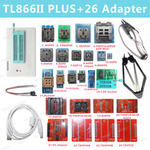 Kit programador, 100% original novo v9.00 tl866ii plus universal minipro + 26 adaptadores + clipe de teste tl866 pic bios de alta velocidade programador