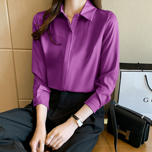 QoerliN Elegant Satin Blouse Autumn Spring Turn-Down Collar Single-Breasted Long Sleeve Female Chiffon Shirt Ladies Blouse Plus 8