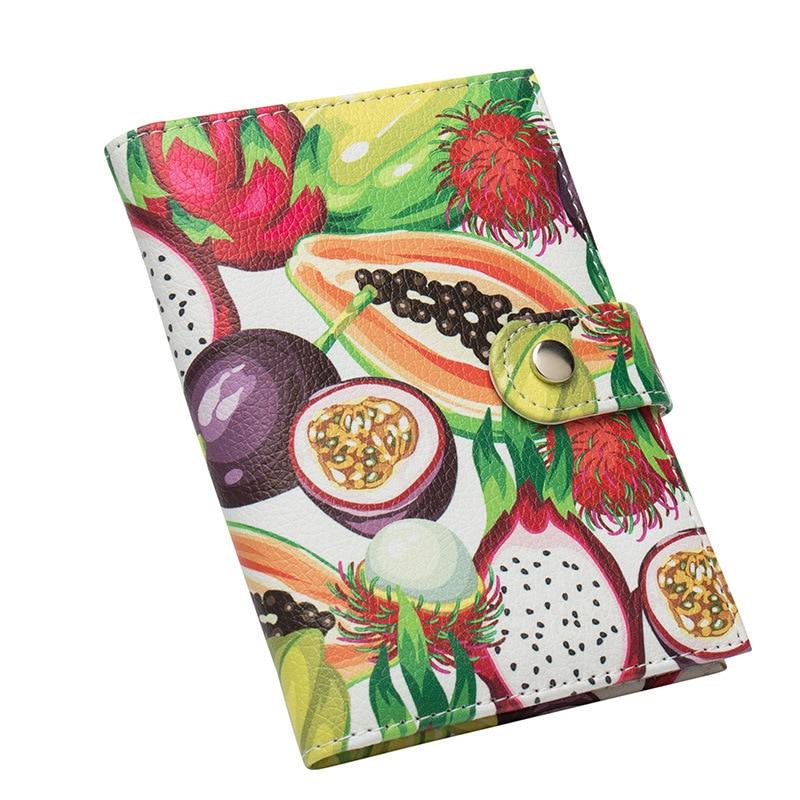 Jiexi Floral Color Cartoon Animal Fruit Passport Wallet Cover Cards Slots Holder Rose Buckle Passport Ticket Clip ZSPC05