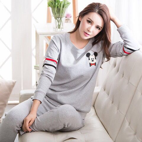 Cartoon Mouse Patterned Pajama Sets For Women Spring Summer Thin Cotton Good Quality Pyjamas Female Pijama Sleepwear