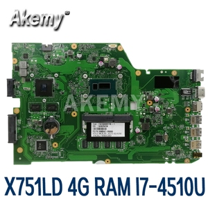 Akemy X751LD dla For Asus X751LN X751LJ K751L X751LD Laptop płyta główna I7-4500U CPU 4GB RAM z GT820M karta graficzna płyta główna