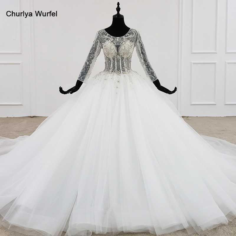 HTL1101 like white wedding dress long sleeve o neck lace up open back crystal corset bridal gowns European and American styleWedding Dresses   -