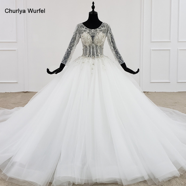 HTL1101 like white wedding dress long sleeve o neck lace up open back crystal corset bridal gowns European and American style