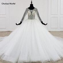 HTL1101 כמו לבן חתונה שמלה ארוך שרוול o צוואר תחרה עד גב פתוח קריסטל מחוך כלה שמלות אירופאי ואמריקאי סגנון