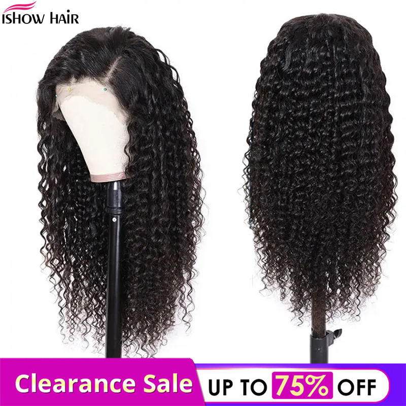 Ishow Hair Lace Front Human Hair Wigs For Women Remy 13x4 150% Maylasian Lace Front Wig Pre Plucked With Baby Hair Deep Wave Wig