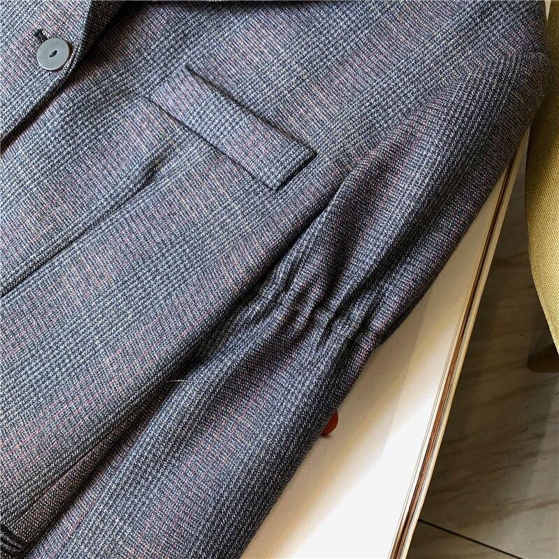 Frauen Wolle Plaid Blazer Mantel Einreiher Büro Dame Jacke Mantel mit Taschen 2019 Herbst Winter Neue - 5