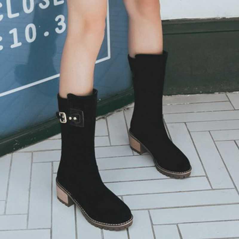 Kış kadın akın kar botları kalın topuk diz çizmeler üzerinde kadın platformu sıcak kadın ayakkabı kahverengi binici botları ayakkabı
