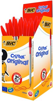BIC Cristal средняя шариковая ручка, красный, S Box