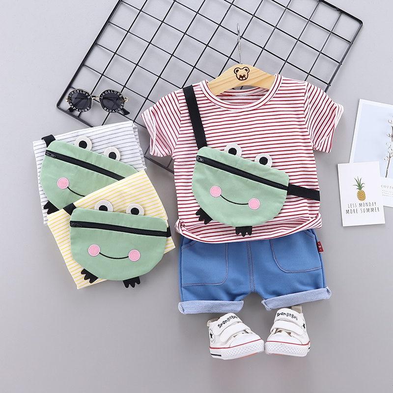 Children Cotton Out Clothes Summer Baby Boys 3D Bags Cartoon T Shirt Shorts 2Pcs/sets Infant Kids Fashion Toddler Tracksuits Set