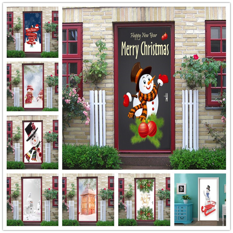 Xmas Snowman Wallpapers For Door Living Room Bedroom Merry Christmas Home Renovation Decor Door Sticker Wall Removable Posters